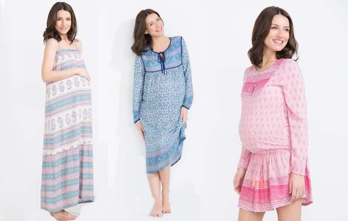 Mujeres luciendo moda premamá